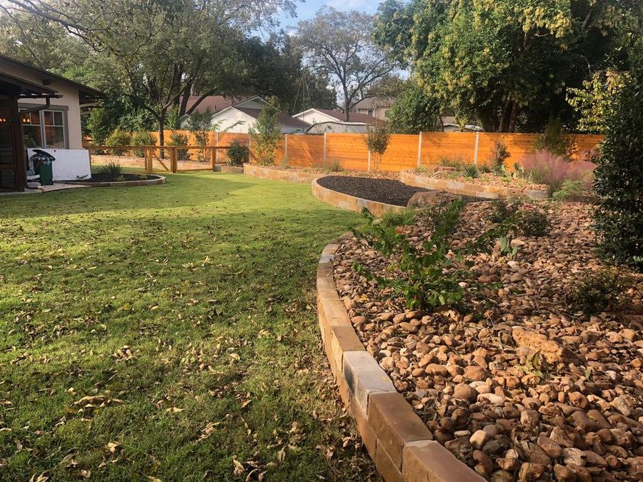 Xeriscape, Sandstone raised bed w/ Colorado River Rock and New Sod