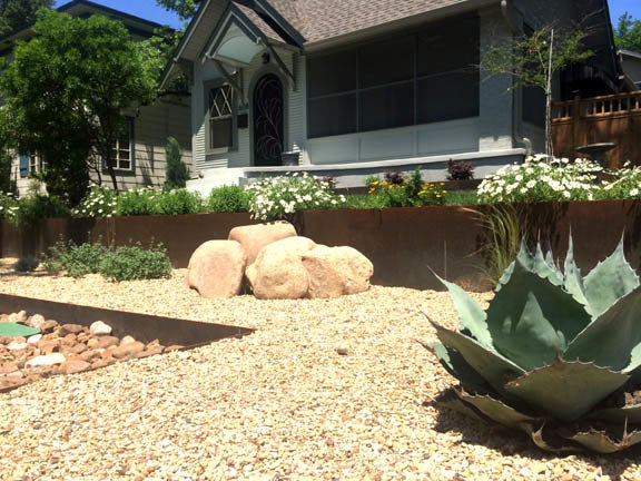 Xeriscape using Core-Ten retaining walls
