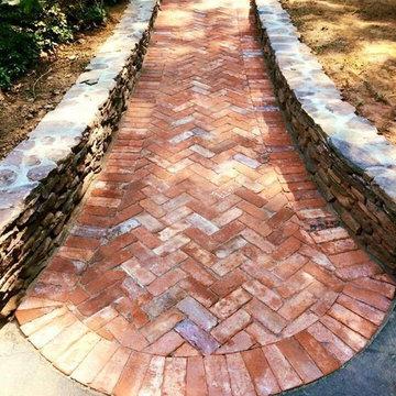 Yardley Reclaimed Brick Walkway and Natural Stone Walls