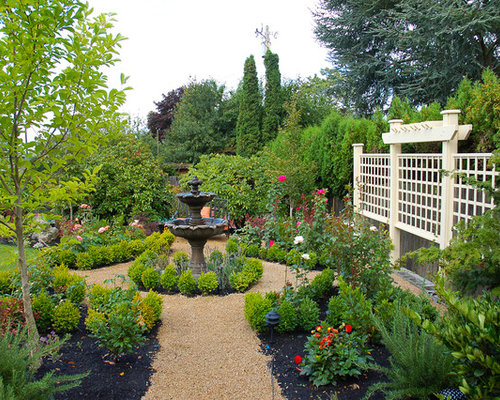 inspiration for a mid sized traditional full sun backyard formal garden in seattle with a