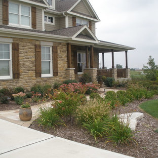 This is an example of a mid-sized traditional partial sun front yard mulch landscaping in Chicago.
