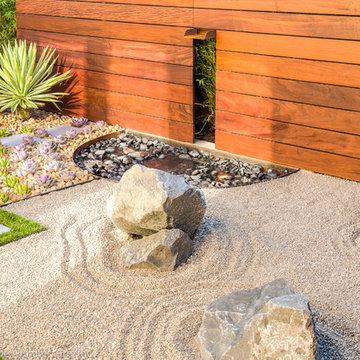 Zen Garden Waterfall Feature + Integrated Wall Light