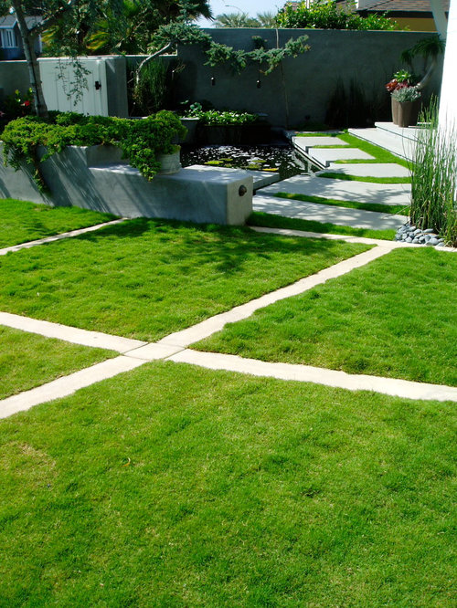 Design Ideas For A Mid Sized Contemporary Backyard Concrete Paver Pond In  San Diego.
