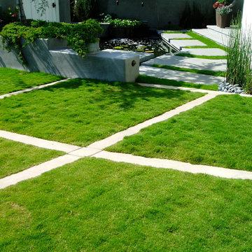 Zen, koi, floating steps, beach plantings, bungalow