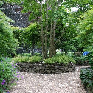 Design ideas for an asian shade backyard gravel formal garden in New York.