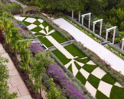garden design with sleepers. this is an example of a modern full sun hillside landscaping in san francisco for summer garden design with sleepers