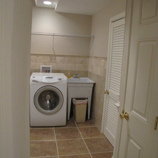 Example of a trendy laundry room design in DC Metro with a single-bowl sink and beige walls