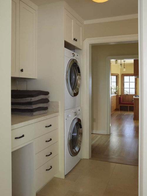 Traditional Beige Floor Laundry Room Idea In San Francisco With A Stacked  Washer/dryer Part 35
