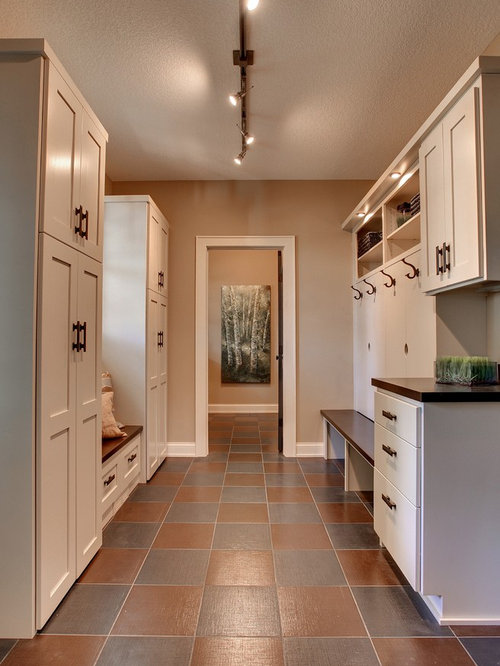 Elegant Multicolored Floor Laundry Room Photo In Minneapolis With Wood  Countertops