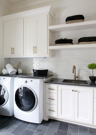 Beach Style Laundry Room by Grove Park Construction