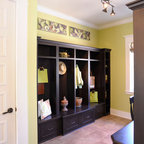 Built In Locker Organization Traditional Laundry Room