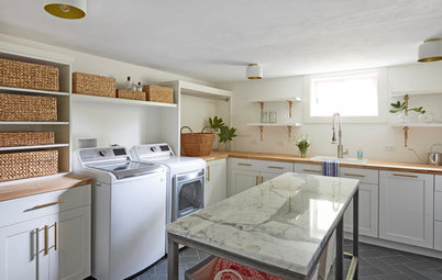 Fresh New Laundry Room in White, Wood and Brass
