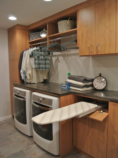Laundry Room Design Ideas, Remodels & Photos with Medium Tone Wood Cabinets