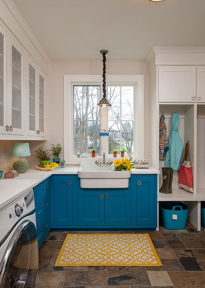 Elegant Transitional Laundry Room by Laura Zender Design Allied ASID