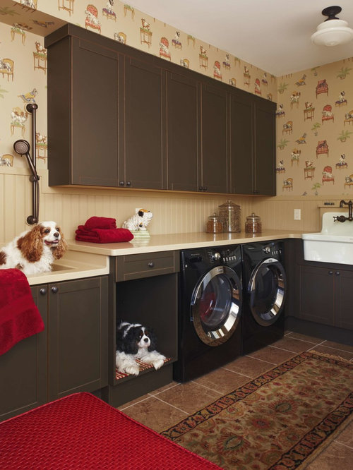 Elegant Brown Floor Laundry Room Photo In Detroit With A Farmhouse Sink,  Shaker Cabinets,
