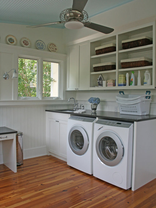 Elegant Laundry Room Photo In Atlanta With White Cabinets