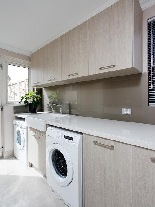 buanderie moderne avec un vier de ferme photos et id es. Black Bedroom Furniture Sets. Home Design Ideas