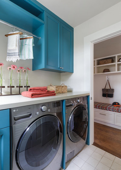 Farmhouse Laundry Room by Denise Maloney Interior Design