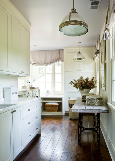 Farmhouse Laundry Room by SUZANNE KASLER INTERIORS
