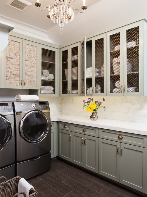 Example Of A Classic L Shaped Brown Floor Laundry Room Design In San  Francisco With