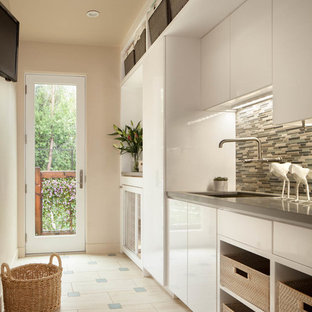 Trendy single-wall dedicated laundry room photo in San Francisco with an undermount sink, flat-panel cabinets, white cabinets and beige walls