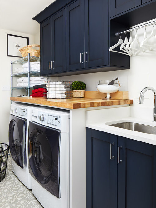 Dedicated Laundry Room   Transitional Single Wall Gray Floor Dedicated  Laundry Room Idea In DC