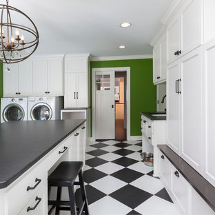 Large Transitional Vinyl Floor And Multicolored Floor Dedicated Laundry Room  Photo In Milwaukee With An Undermount