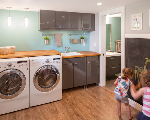 Example Of A Trendy Laundry Room Design In Portland With Gray Cabinets,  Blue Walls And Part 39