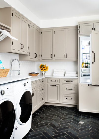 Transitional Laundry Room by JWH Design and Cabinetry LLC