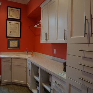 Design ideas for a large traditional u-shaped separated utility room in Other with an utility sink, white cabinets, laminate countertops, ceramic flooring, a side by side washer and dryer and red walls.