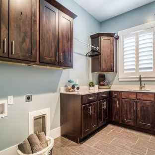 Design ideas for a large classic l-shaped separated utility room in Salt Lake City with a submerged sink, shaker cabinets, dark wood cabinets, quartz worktops, blue walls and ceramic flooring.