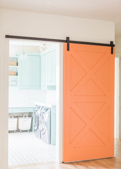 Transitional Laundry Room by Route Design : Ashley Winn