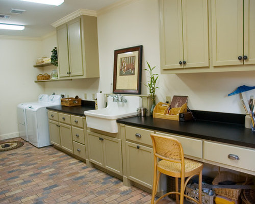 Example Of A Large Classic Galley Brick Floor Utility Room Design In Houston  With A Farmhouse