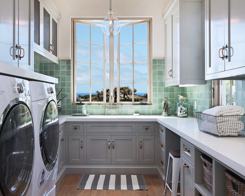Best 70 Grey Cabinets Laundry Room Ideas | Houzz