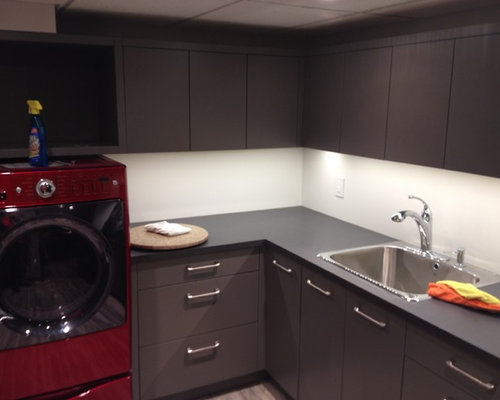 Best Midcentury Laundry Room with Gray Cabinets Design Ideas & Remodel Pictures | Houzz