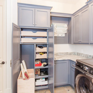 Beach style l-shaped multicolored floor dedicated laundry room photo in Atlanta with gray cabinets, white walls, multicolored countertops and recessed-panel cabinets