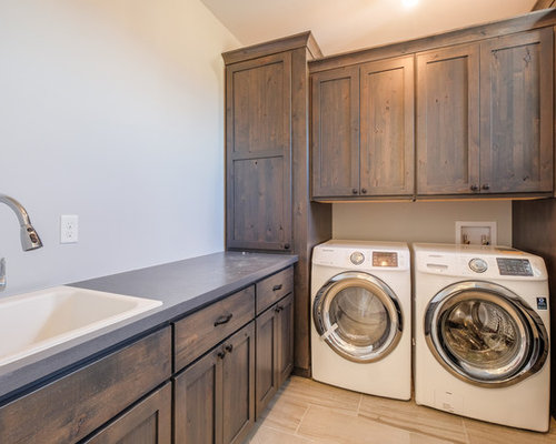 Houzz | Farmhouse Laundry Room with Dark Wood Cabinets Design Ideas & Remodel Pictures