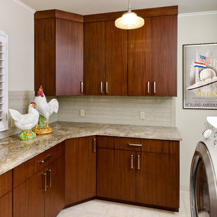 Laundry Room   Traditional Laundry Room Idea In Other With Flat Panel  Cabinets And Dark