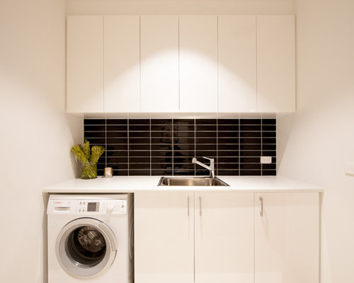 Photo Of A Small Contemporary Single Wall Dedicated Laundry Room In  Melbourne With A Single Part 97