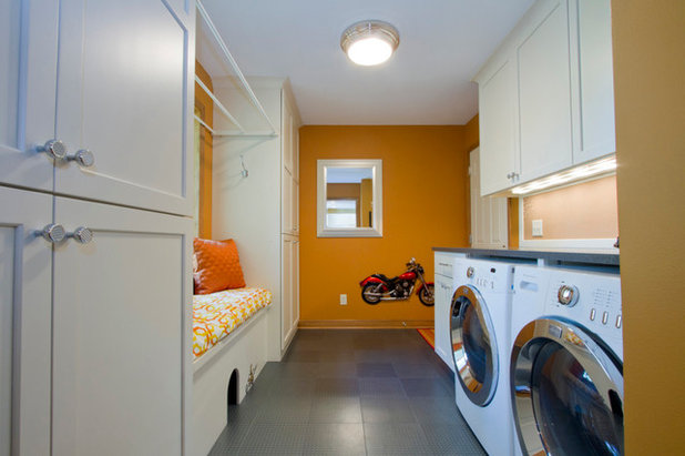 Transitional Laundry Room by Bear Trap Design