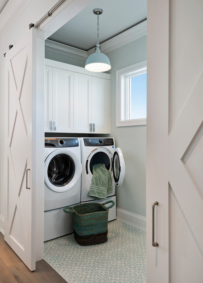 Transitional Laundry Room by Kukk Architecture & Design P.A.