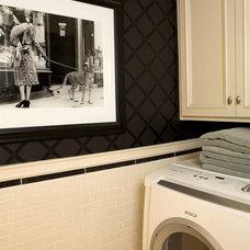 traditional laundry room by Charmean Neithart Interiors, LLC.