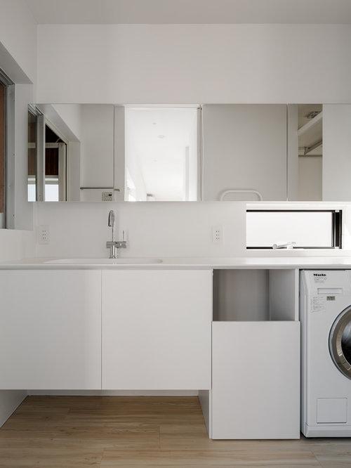 buanderie moderne avec un vier int gr photos et id es. Black Bedroom Furniture Sets. Home Design Ideas