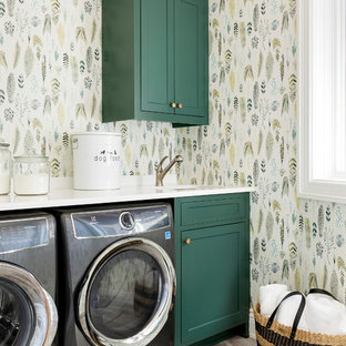 Example of a small coastal ceramic floor and beige floor dedicated laundry room design in Minneapolis with green cabinets, quartzite countertops, multicolored walls, white countertops and shaker cabinets