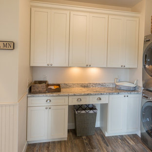 Example Of A Country L Shaped Ceramic Floor Dedicated Laundry Room Design  In Minneapolis With