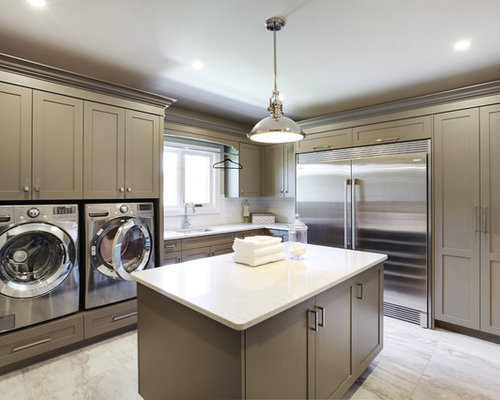 Example Of A Transitional L Shaped White Floor Utility Room Design In  Toronto With An Part 76