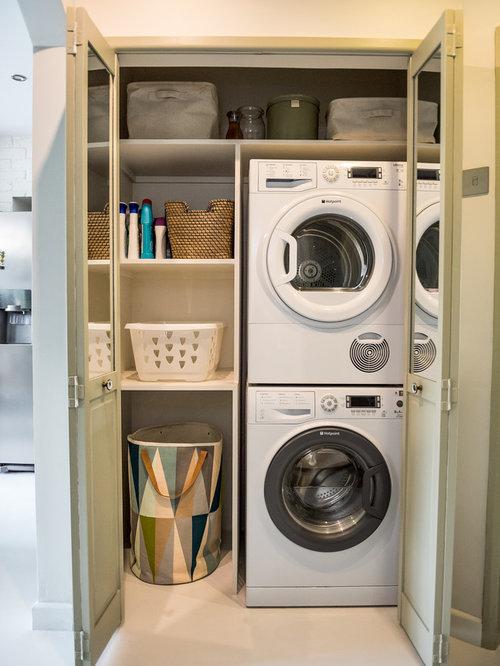 Fotos de lavaderos | Diseños de armarios lavadero con suelo de cemento