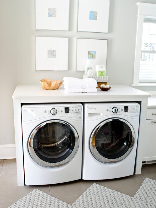 Counter Height Washing Machine : Shelves Over Washer And Dryer Houzz