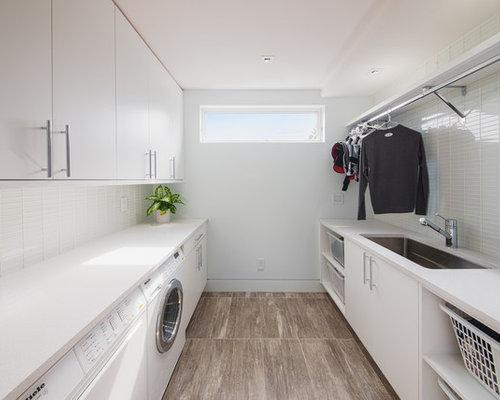 moderner hauswirtschaftsraum mit quarzit arbeitsplatte ideen design bilder houzz. Black Bedroom Furniture Sets. Home Design Ideas
