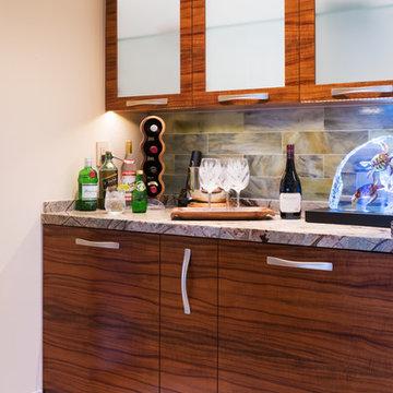 Custom Koa Bar Cabinets in Artistic Wailea Oceanview Remodel